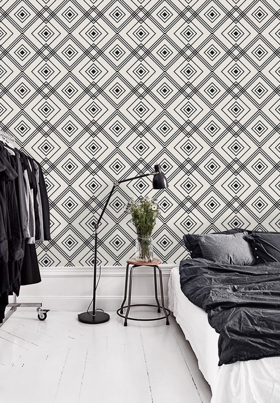 Geometric Removable Wallpaper White And Black Wall Mural Wall Art 238