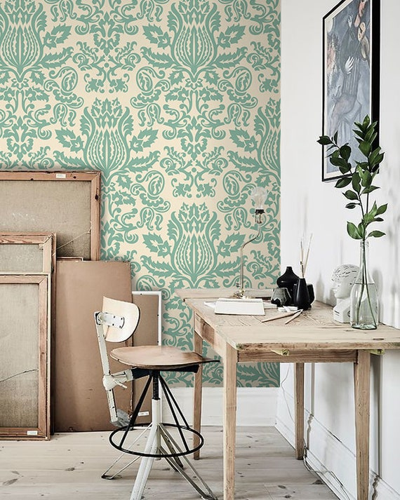 Damask Removable Wallpaper Green And White Wall Mural Large Etsy
