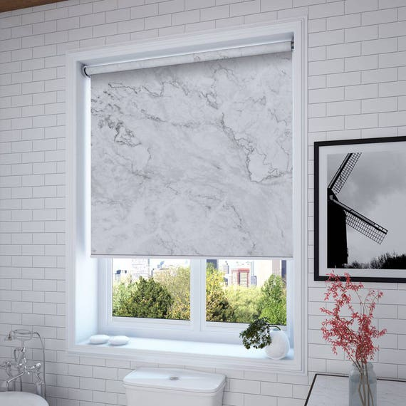 White Marble Roller Shades Window And Solar Custom Blinds