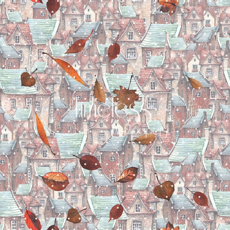 Autumn old town removable wallpaper brown and blue #77
