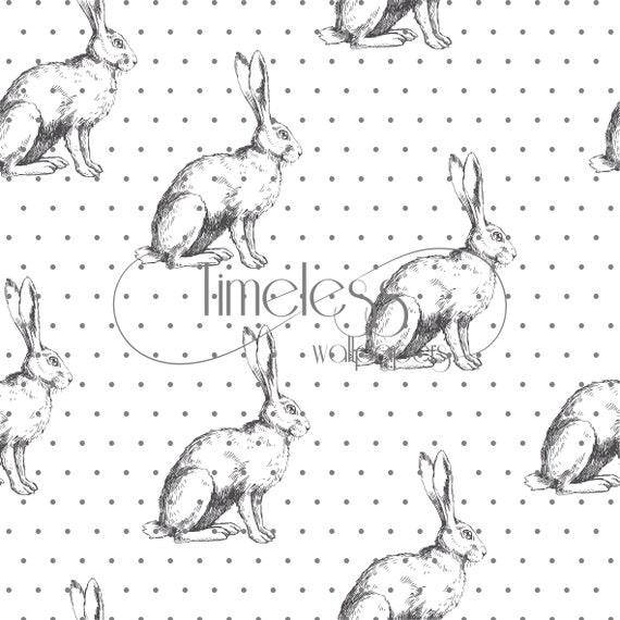 Sketched rabbits removable wallpaper black white wallpaper #3