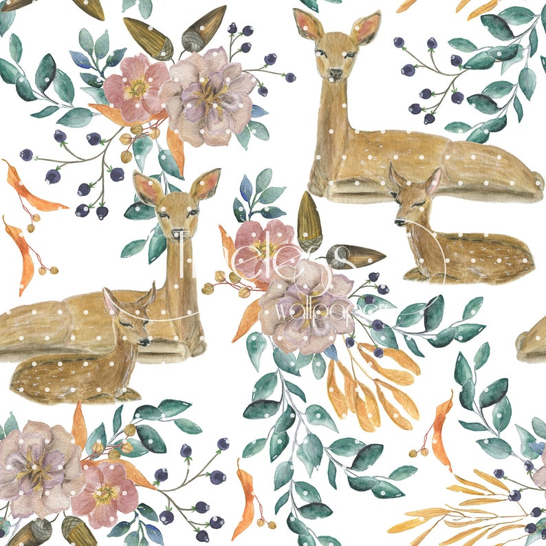 Watercolor deers removable wallpaper brown and green #67