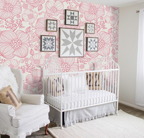 Red line flowers removable wallpaper red and white wall mural design #222