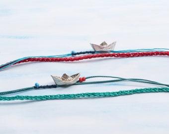 Silver 925  Mini Origami Boat Bracelet / Unisex Bracelet with Candlewick Cord / Colorful Minimal Bracelet
