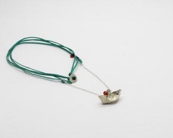 Silver 925 Origami Mini Boat Pendant / Pendant with Chain / Greek Origami Pendant