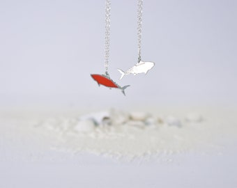 Silver 925 fish pendant / Fish pendant with chain and epoxy resin / Elegant Minimalist gift for Women and Girls / Double sided fish pendant