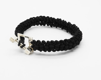 Men's Silver 925 bracelet handmade  with nylon cord.