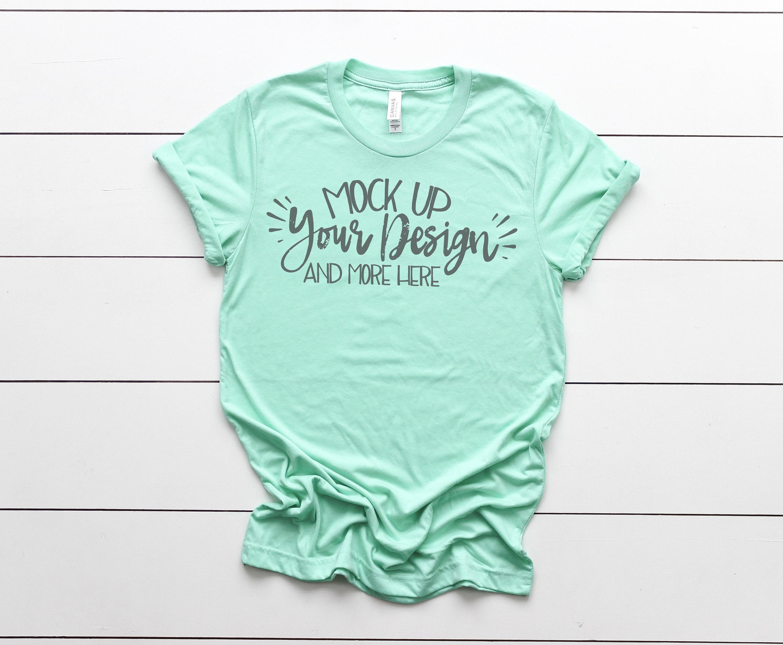 Outfit Flat lay Bella Canvas 3413 Shirt Green Triblend Apparel Photography Shirt Mockup