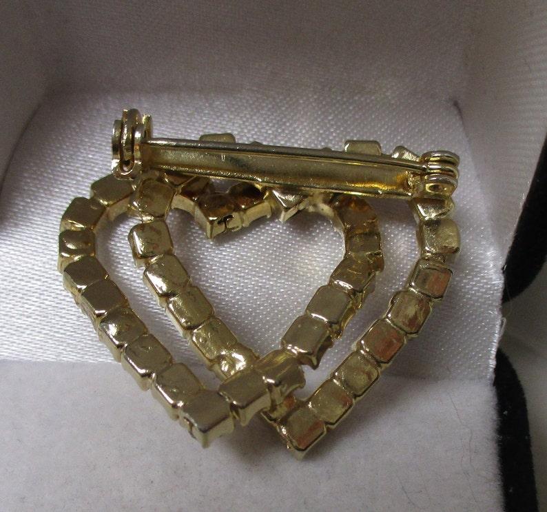 Demi 2 pc set Estate Sale item Vintage Double Red /& Clear Rhinestone Heart Pin DS173 Valentine giftable goldtone CZ rhinestone studs
