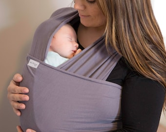 Organic Cotton Baby Wrap Carrier | Stretchy Baby Carrier | Baby Wrap Sling | Baby Shower Gift | Grey, Black, Navy, Teal