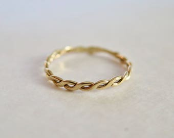 3af5fd078 Solid 14K Gold Braid Ring, Stackable Ring, Wedding Band, Infinity Ring,  Stacking Ring, Woven Gold Ring, Minimal Jewelry