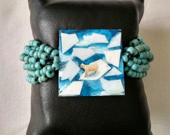 Painted Polar Bear Resin on seashell beaded bracelet