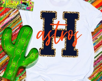 fad4e0f39 Houston Astros Shirt Baseball Tee Navy Leopard Cheetah Fan Gift Unisex  TShirt