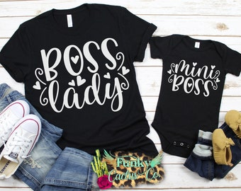 a7698db97969da Mommy and Me Shirts, Boss Lady Mini Boss, Mother and Daughter Outfit, Twins