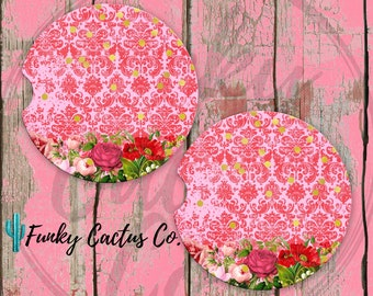 Pink Damask and Flowers Car Coasters