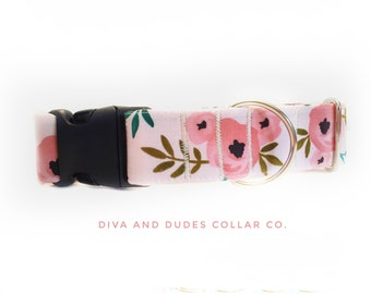 Summer Dog Collar - Coral Dog Collar, Flower Collar, Rose Dog Collar, Nickel Buckle Collar, Girl Dog Collar
