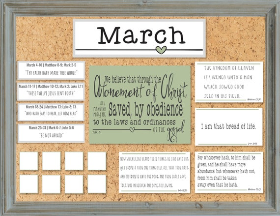 March 2019- Come Follow Me Bulletin Board Kit - Family Study Kit - Bulletin  Board - Home Study Weekly Scripture Reading- INSTANT DOWNLOAD