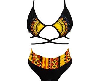 Dashiki Two Piece Swimsuit Black