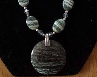 Stunning Zebra Opal Necklace with Austrian Crystals