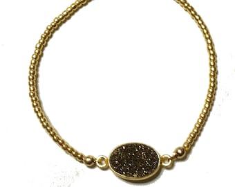 Druzi Link Gold Bead Stretch Bracelet