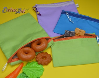 Set of 2 , Reusable and water-resistant  snack/sandwich bags set, snack bag, sandwich bag, reusable bags.
