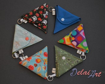 Triangle keychain, coin pocket, small wallet, coin purse, earbud pocket