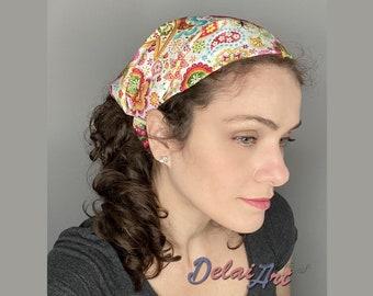 FREE SHIPPING - Bandana hairband with elastic, Headband, Bandana, Fabric turban, handmade, hair band