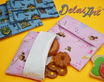FREE SHIPPING Set of 2: Reusable sandwich and snack bags. Set of two bags. Reusable snack bag, reusable sandwich bag.