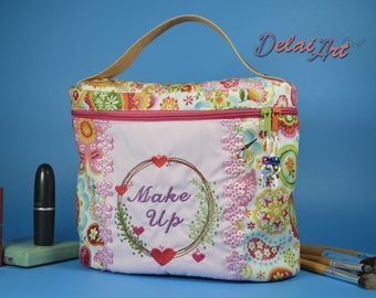 Embroidery Makeup Case, makeup bag, beauty briefcase.