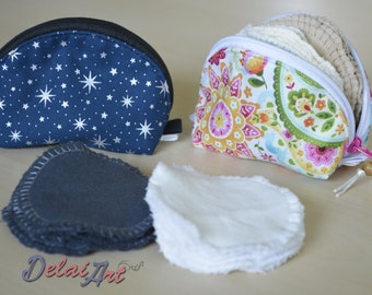 Reusable face pads with pouch, pads bag, coin pocket, pads pocket, small pouch, cosmetic bag,  face cloths, makeup remover, make up pad.