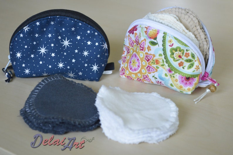 Reusable face pads with pouch pads bag coin pocket pads image 0