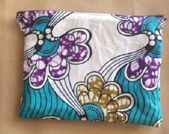 African Fabric Zipper Lined Bag/Pouch in Blue, Brown, White and Purple/African Print Bag/Pencil Case/Makeup Bag