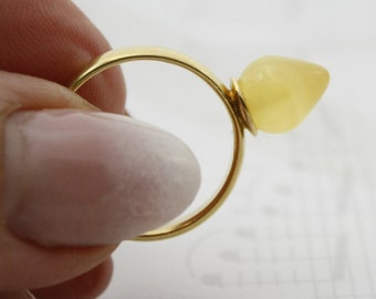 Pure Baltic amber ring, stylish amber ring, beautiful amber yellow colour ring, adjustable ring, unique amber ring gifts, silver gold plated