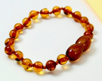 Earrings Genuine Amber Bracelet/anklet Child-adult Knotted Beads Sizes 13-25 Cm Bracelets Feeding
