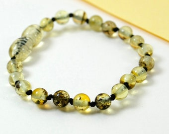Round shape amber bracelet/anklet and stylish accessories. Perfect gift for your baby. Pure amber bracelet