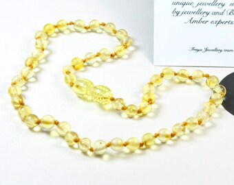 Premium Quality Baltic Amber Baby Teething Necklace Lemon Round Ball Beads