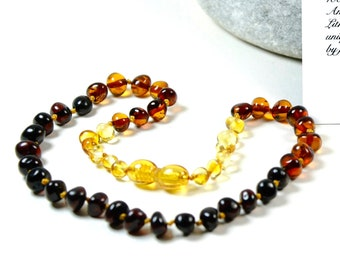 Baltic amber teething necklace, Amber teething necklace. High polished rainbow colour Amber necklace. Baltic amber baby necklace.
