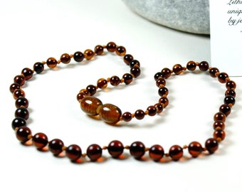 Premium Quality Baltic Amber Baby Teething Necklace Cognac Round Ball Beads