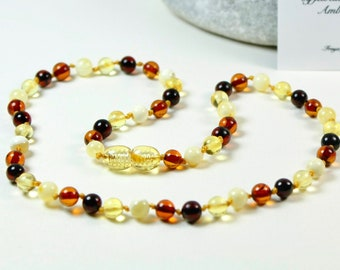 Premium quality Baltic Amber Baby Teething Necklace Multicolour Round Ball Beads