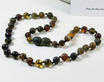 Premium Quality Baltic Amber Baby Teething Necklace Dark Green Round Ball Beads