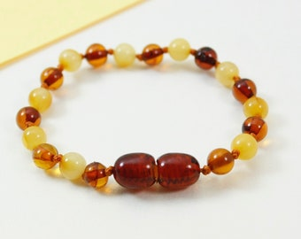 Round shapes amber bracelet/anklet and stylish accessories. Perfect gift for your baby. Pure amber bracelet
