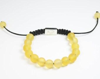 Shamballa amber bracelet, yellow unpolishede colour bracelet, beautiful colour design, positive energy bracelet