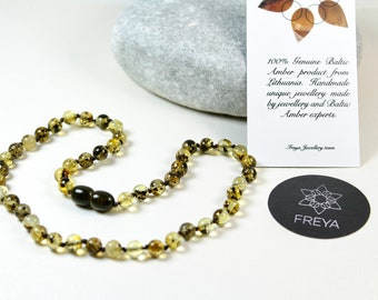 Premium Quality Baltic Amber Baby Teething Necklace Light Green Round Ball Beads