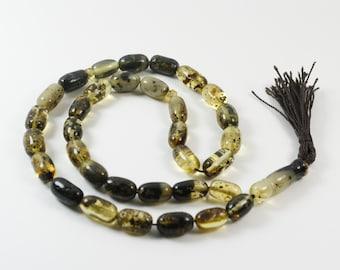 Baltic amber Islamic prayer beads. Handmade of 100% Genuine Baltic Amber. Islamic 33 amber prayer beads, barrel shape
