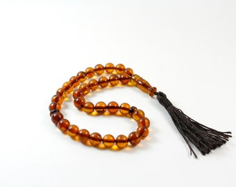 Baltic amber Islamic prayer beads. Handmade of 100% Genuine Baltic Amber. Islamic 33 amber prayer beads, barrel shape