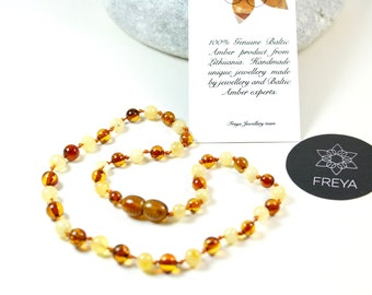 Baltic Amber Baby Teething Necklace Cognac/Milk Round Ball Beads