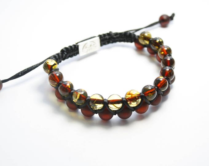 Featured listing image: Macrame Shamballa Amber Bracelet Cherry-Lemon Colour. Perfect amber colour design, Baltic amber bracelet, fashionable bracelet.Shamballa