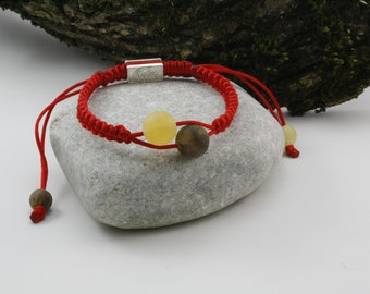 Red Macrame Shamballa bracelet in yellow and green high unpolished amber beads