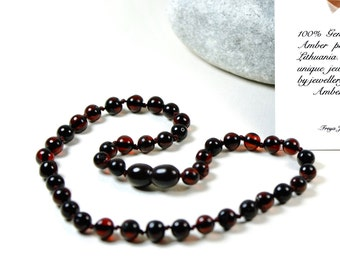 Premium quality Baltic Amber Baby Teething Necklace Cherry Round Ball Beads