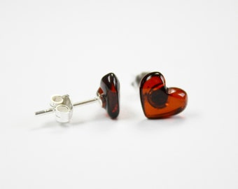 Real Natural Baltic AMBER cognac heart shape stud earrings on Sterling Silver